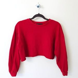Cherry Red Cropped Crewneck | Rock Rose Couture